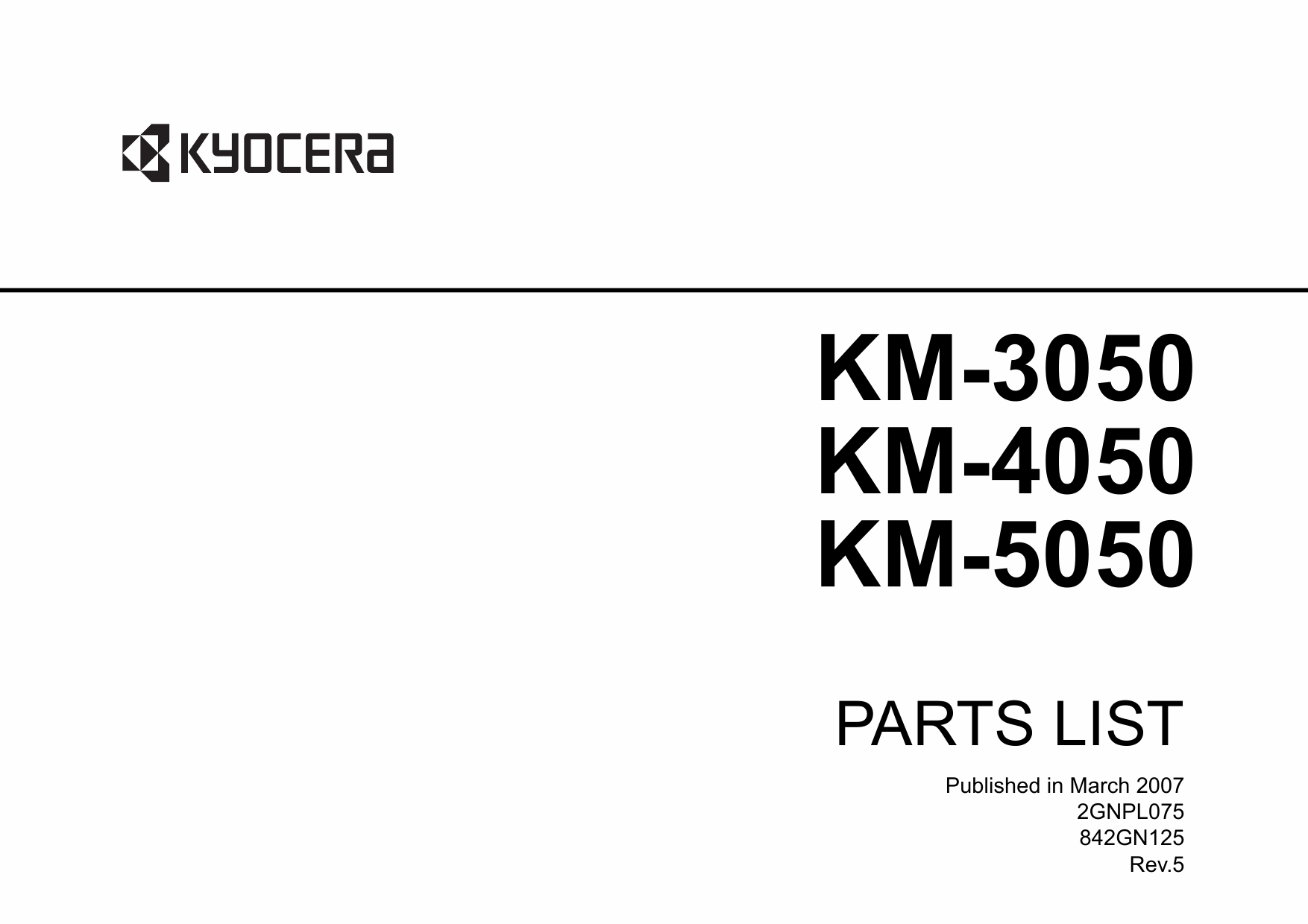KYOCERA Copier KM-3050 4050 5050 Parts Manual-1